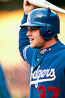 Darren Dreifort of the Los Angeles Dodgers during a game at Dodger Stadium in Los Angeles, California during the 1997 season.(Larry Goren/Four Seam Images)