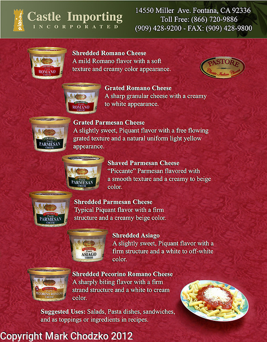 Tear Sheet of flyer for Castle Importing cheese products