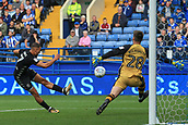 1st October 2017, Hillsborough, Sheffield, England; EFL Championship football, Sheffield Wednesday versus Leeds United; Kemar Roofe of Leeds United FC shoots and misses the target