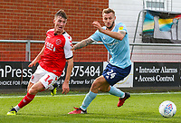 Fleetwood Town's Chris Long shields the ball from Accrington Stanley's Nick Anderton<br /> <br /> Photographer Alex Dodd/CameraSport<br /> <br /> The EFL Sky Bet League One - Fleetwood Town v Accrington Stanley - Saturday 15th September 2018  - Highbury Stadium - Fleetwood<br /> <br /> World Copyright &copy; 2018 CameraSport. All rights reserved. 43 Linden Ave. Countesthorpe. Leicester. England. LE8 5PG - Tel: +44 (0) 116 277 4147 - admin@camerasport.com - www.camerasport.com