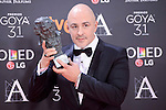 Roberto Alamo pose to the media with the Goya award at Madrid Marriott Auditorium Hotel in Madrid, Spain. February 04, 2017. (ALTERPHOTOS/BorjaB.Hojas)