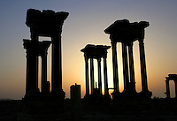 Tetrapylon at twilight, reconstructed after 1963 by Syrian Directorate of Antiquities, Palmyra, Syria Picture by Manuel Cohen