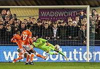 Blackpool's Mark Howard saves<br /> <br /> Photographer Andrew Kearns/CameraSport<br /> <br /> The Emirates FA Cup Second Round - Solihull Moors v Blackpool - Friday 30th November 2018 - Damson Park - Solihull<br />  <br /> World Copyright © 2018 CameraSport. All rights reserved. 43 Linden Ave. Countesthorpe. Leicester. England. LE8 5PG - Tel: +44 (0) 116 277 4147 - admin@camerasport.com - www.camerasport.com