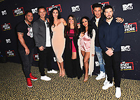 "WEST HOLLYWOOD, CA - MARCH 29:   Ronnie Ortiz-Magro, Mike Sorrentino, Jenni Farley, Deena Cortese, Vinny Guadagnino, Pauly DelVecchio and Nicole Polizzi at the ""Jersey Shore Family Vacation"" Global Premiere at HYDE Sunset: Kitchen + Cocktails on March 29, 2018 in West Hollywood, California. (Photo by Scott KirklandPictureGroup)"