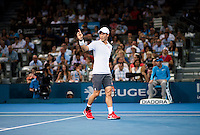 KEI NISHIKORI (JPN)<br /> <br /> BRISBANE INTERNATIONAL, PAT RAFTER <br /> ARENA, BRISBANE TENNIS CENTRE, BRISBANE, QUEENSLAND, AUSTRALIA, ATP, WTA, Hard Court, Outside, Men's tennis, Women's tennis, Men's singles, women's singles, men's doubles, women's doubles.<br /> <br /> &copy; TENNIS PHOTO NETWORK