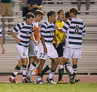 The number 5 ranked Charlotte 49ers play the University of South Carolina Gamecocks at Transamerica field in Charlotte.  Charlotte won 3-2 in the second overtime.  Charlotte players celebrate a goal.