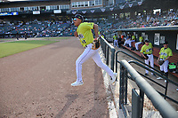 Third baseman Mark Vientos (13) of the Columbia Fireflies is introduced before a game against the Charleston RiverDogs on Saturday, April 6, 2019, at Segra Park in Columbia, South Carolina. Columbia won, 3-2. (Tom Priddy/Four Seam Images)