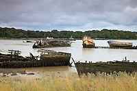 France, Morbihan (56), vallée du Blavet, Lanester, cimetière de bateaux de Kerhervy // France, Morbihan, Blavet Valley, Lanester, Kerhervy boats cemetery