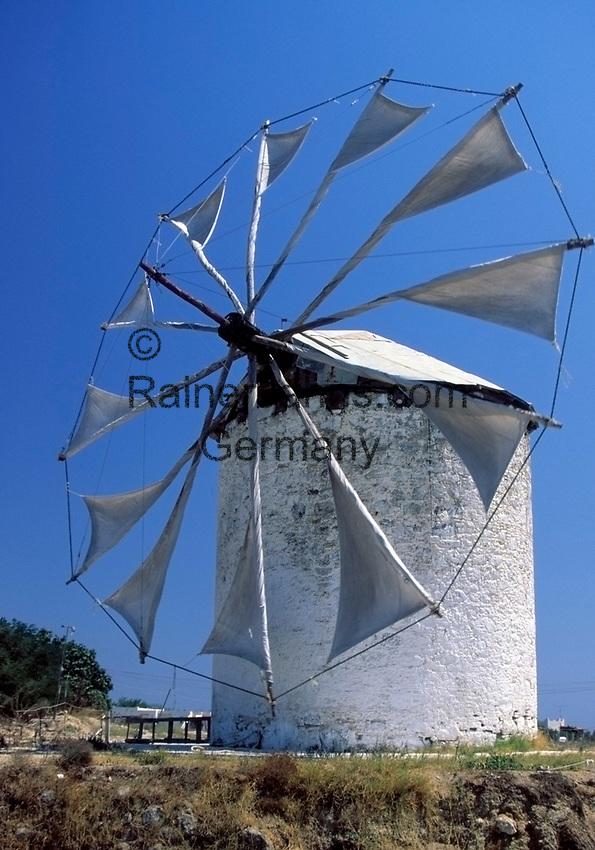 Griechenland, Dodekanes, Kos, Andimachia: antike Windmuehle | Greece, Dodekanes, Kos, Andimachia: ancient windmill
