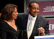 January 26, 2012  (Washington, DC)  Leon Harris of WJLA-TV in Washington, introduced KCBS-TV co-anchor Pat Harvey (left) as she received her induction to the 2012 National Association of Black Journalists (NABJ) Hall of Fame.  The induction ceremony was held at the Newseum in Washington.  (Photo by Don Baxter/Media Images International)