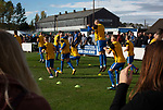 Home players going through their pre-match warm up at the UTS Stadium before the FA Cup fourth qualifying round match between Dunston UTS and their local rivals Gateshead. Founded in 1975, the home team were formerly known as Dunston Federation. The visitors won 4-0 watched by a record crowd of 2,500.