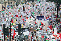 National demonstration in London called over the bombing of Gaza by Israeli forces. The protest called by the Stop the War Coalition, The Palestinian Soldidarity Campaign, CND, War on Want, BMI, IFE and Friends of Al Aqsa marcheds from Downing street to the Israeli Embassy in Kensington.
