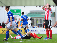 Lincoln City's Matt Rhead reacts after missing a chance in the first half<br /> <br /> Photographer Chris Vaughan/CameraSport<br /> <br /> Vanarama National League - Lincoln City v Macclesfield Town - Saturday 22nd April 2017 - Sincil Bank - Lincoln<br /> <br /> World Copyright &copy; 2017 CameraSport. All rights reserved. 43 Linden Ave. Countesthorpe. Leicester. England. LE8 5PG - Tel: +44 (0) 116 277 4147 - admin@camerasport.com - www.camerasport.com