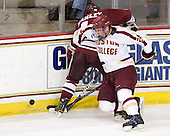 Joel Hanley (UMass - 44), Bill Arnold (BC - 24) - The Boston College Eagles defeated the University of Massachusetts-Amherst Minutemen 3-2 to take their Hockey East Quarterfinal matchup in two games on Saturday, March 10, 2012, at Kelley Rink in Conte Forum in Chestnut Hill, Massachusetts.