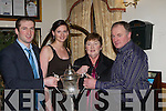 Jason Kelly, Maura Cussen, Lil Kelly and Tadgh Kelly with the Duhallow cup at the Ballydesmond GAA social in Darby O'Gills Killarney Saturday night