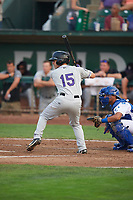 Jeff Moberg (15) of the Grand Junction Rockies bats against the Ogden Raptors at Lindquist Field on September 6, 2017 in Ogden, Utah. Ogden defeated Grand Junction 11-7. (Stephen Smith/Four Seam Images)