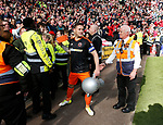 Billy Sharp of Sheffield Utd with a brick and an inflatable trophy during the English League One match at  Stadium MK, Milton Keynes. Picture date: April 22nd 2017. Pic credit should read: Simon Bellis/Sportimage
