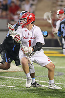 College Park, MD - April 29, 2017: Maryland Terrapins Matt Rambo (1) in action during game between John Hopkins and Maryland at  Capital One Field at Maryland Stadium in College Park, MD.  (Photo by Elliott Brown/Media Images International)