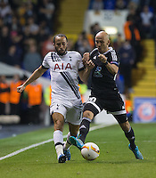 Andros Townsend of Tottenham Hotspur & Richard Almeida of Qarabag FK battle for the ball during the UEFA Europa League match between Tottenham Hotspur and Qarabag FK at White Hart Lane, London, England on 17 September 2015. Photo by Andy Rowland.