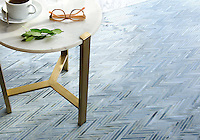 Twill, a hand-cut stone mosaic, shown in polished Pacifica, is part of The Studio Line of Ready to Ship mosaics.