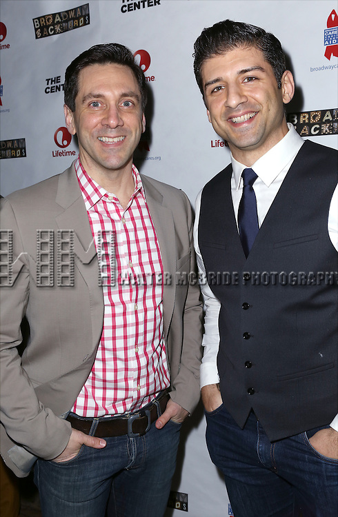 """Michael Berresse and Tony Yasbeck attends the """"Broadway Backwards"""" After Party Reception  at John's Restaurant on March 24, 2014 in New York City."""