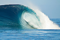 Teahupoo, Tahiti Iti, French Polynesia. Sunday August 21 2011. Breaking wave. A mix of south west and west swell in the 4' range was hitting the main reef at Teahupoo today. Photo: joliphotos.com