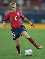 26 August 2004:  Kristine Lilly in action during the Gold Medal game against Brazil at Karaiskaki Stadium in Athens, Greece.   USA defeated Brazil, 2-1 in overtime.   Credit: Michael Pimentel / ISI.