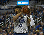 Nevada forward Jordan Brown (21) against Little Rock in the first half of an NCAA college basketball game in Reno, Nev., Friday, Nov. 16, 2018. (AP Photo/Tom R. Smedes)