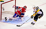 14 December 2009: Buffalo Sabres' right wing forward Patrick Kaleta (36) scores on Montreal Canadiens' goaltender Jaroslav Halak in the second period at the Bell Centre in Montreal, Quebec, Canada. The Sabres defeated the Canadiens 4-3. Mandatory Credit: Ed Wolfstein Photo