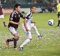 CARSON, CA – September 9, 2011: Colorado Rapid defender Kosuke Kimura (27) and LA Galaxy forward Paolo Cardozo (30) during the match between LA Galaxy and Colorado Rapids at the Home Depot Center in Carson, California. Final score LA Galaxy 1, Colorado Rapids 0.