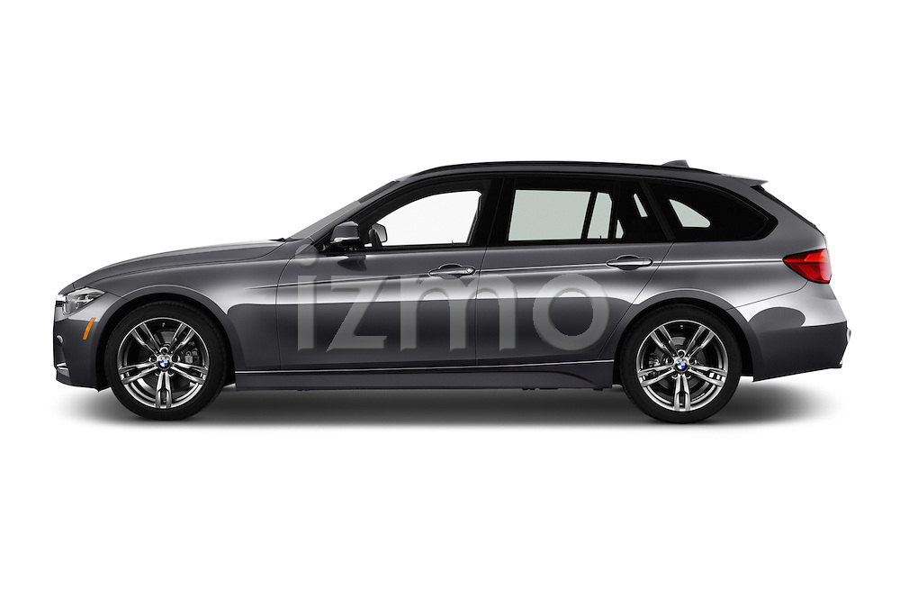 Car Driver side profile view of a 2017 BMW 3-Series 330i-Sports-Wagon 5 Door Wagon Side View
