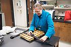 November 7, 2017; Barbara J. Hellenthal, Biodiversity Museum & Herbarium Curator, prepares a sample in the herbarium in Jordan Hall of Science. (Photo by Matt Cashore/University of Notre Dame)