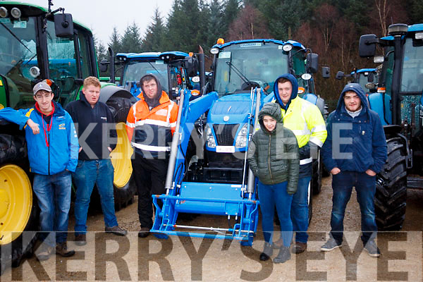 L-R Bryan McCarthy, Dylan McCarthy, Mikey Rice, Katie McCarty, Seamus Healy and Kieran Kelleher at the Kenmare Macra na Feirme tractor run.