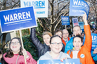 Supporters of Democratic presidential candidate and Massachusetts senator Elizabeth Warren gather along Linnaean Street as the candidate walks to Graham & Parks School to vote in the Massachusetts primary as part of Super Tuesday voting in Cambridge, Massachusetts, on Tue., March 3, 2020. The polling place is just a few blocks from Warren's residence. Polls show Warren and Vermont senator Bernie Sanders in a near tie in the Massachusetts Democratic party primary.