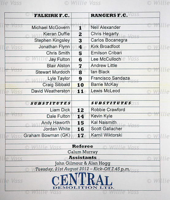 Official teamsheet for Falkirk v Rangers, Ramsdens Cup 2nd round 21st August 2012