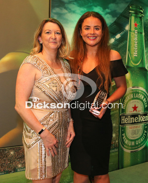 Thursday 10th May 2018 | Ulster Rugby Awards 2018<br /> <br /> Dawn Johnston, a Director of Deloitte presents the Deloitte Women&rsquo;s Player of the Year to Larissa Muldoon, during the 2018 Heineken Ulster Rugby Awards at La Mom Hotel, Belfast. Photo by John Dickson / DICKSONDIGITAL