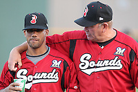 Nashville Sounds manager Don Money #7 and Luis Figueroa #9 before a game against the Omaha Storm Chasers at Greer Stadium on April 25, 2011 in Nashville, Tennessee.  Omaha defeated Nashville 2-1.  Photo By Mike Janes/Four Seam Images