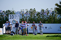 Justin Thomas (USA) looks over his tee shot on 10 during round 1 foursomes of the 2017 President's Cup, Liberty National Golf Club, Jersey City, New Jersey, USA. 9/28/2017.<br /> Picture: Golffile   Ken Murray<br /> ll photo usage must carry mandatory copyright credit (&copy; Golffile   Ken Murray)