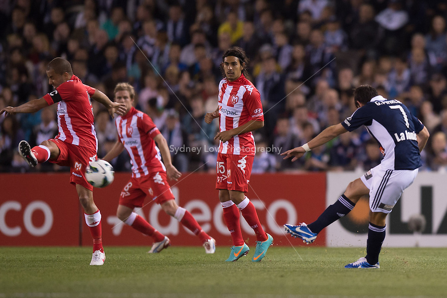 MELBOURNE - 5 October: Fred of the Heart blocks a free kick by Guilherme FINKLER of the Victory in round one of the 2012 A-League between Melbourne Victory and Melbourne Heart at Etihad Stadium. (Photo by Sydney Low/syd-low.com/@gomvfc)