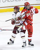 Alison Szlosek (BC - 8), Britt Hergesheimer (BU - 2) - The Boston College Eagles defeated the Boston University Terriers 2-1 in the opening round of the Beanpot on Tuesday, February 8, 2011, at Conte Forum in Chestnut Hill, Massachusetts.