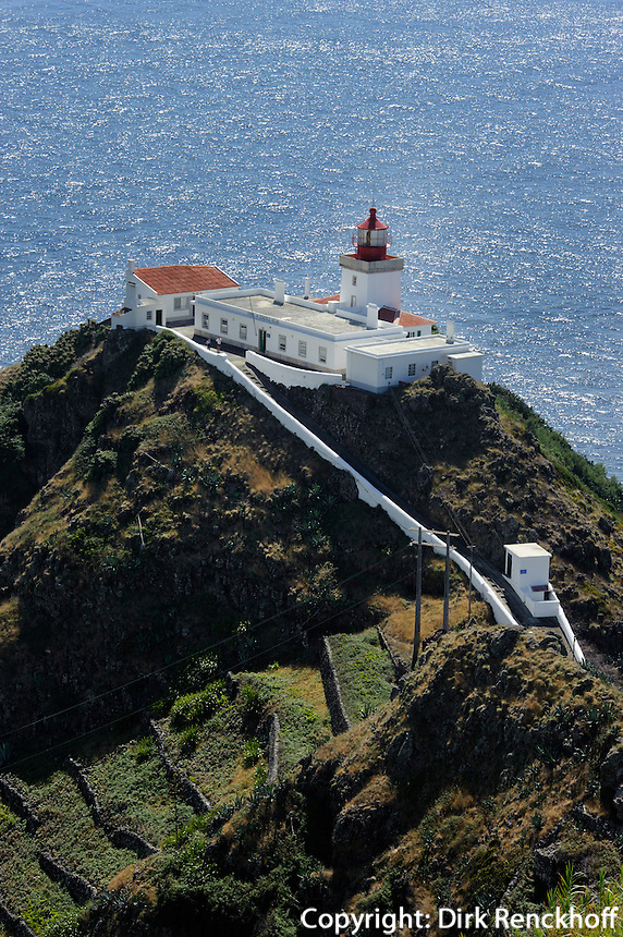 Leuchtturm Farol de Goncalo Velho auf der Insel Santa Maria, Azoren, Portugal