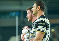 Picture by Allan McKenzie/SWpix.com - 19/04/2018 - Rugby League - Betfred Super League - Hull FC v Leeds Rhinos - KC Stadium, Kingston upon Hull, England - Marc Sneyd with his baby child.