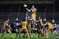 Sam Jeffries of Bristol United wins the ball at a lineout. Aviva A-League match, between Bath United and Bristol United on September 19, 2016 at the Recreation Ground in Bath, England. Photo by: Patrick Khachfe / Onside Images