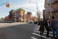 Intersection of Fulton Street and South Portland Avenue in the Fort Greene neighborhood of Brooklyn in New York are scene on Saturday, March 10, 2012. (© Richard B. Levine)