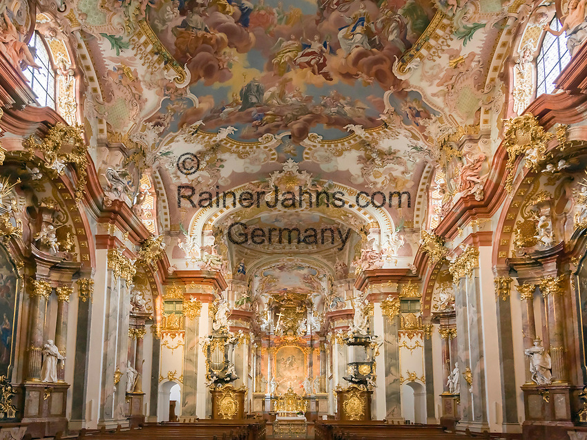 Oesterreich, Oberoesterreich, Wilhering: Zisterzienser-Stift Wilhering, Stiftskirche, innen | Austria, Upper Austria, Wilhering: Cistercian Abbey Wilhering, collegiate church, interior