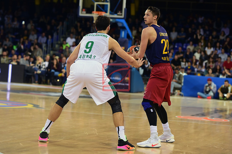 Turkish Airlines Euroleague 2016/2017.<br /> Regular Season - Round 6.<br /> FC Barcelona Lassa vs Zalgiris Kaunas: 92-86.<br /> Leo Westermann vs Marcus Eriksson.