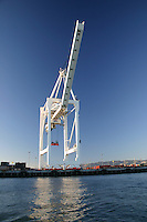 A view from the water of one of the loading cranes at the Port of Oakland.