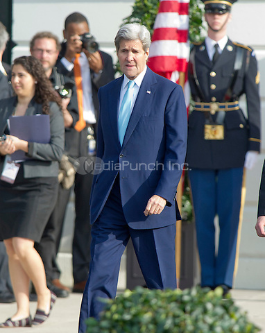 United States Secretary of State John Kerry arrives prior to US President Barack Obama and First Lady Michelle Obama at an Arrival Ceremony opening the Official Visit of Prime Minister Justin Trudeau of Canada, and Mrs. Sophie Gr&Egrave;goire Trudeau on the South Lawn of the White House in Washington, DC on Thursday, March 10, 2016. <br /> Credit: Ron Sachs / CNP/MediaPunch