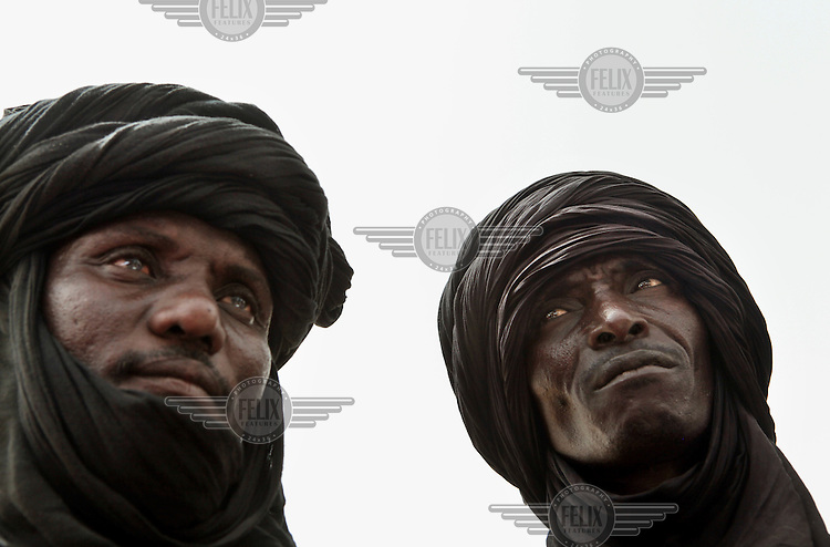 Two men in Tabarbar refugee camp who have fled fighting in neighbouring Mali.