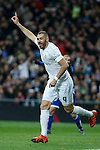 Real Madrid´s Karim Benzema celebrates a goal during 2015/16 La Liga match between Real Madrid and Deportivo de la Coruna at Santiago Bernabeu stadium in Madrid, Spain. January 09, 2015. (ALTERPHOTOS/Victor Blanco)
